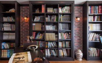 书房黑色书架美式风格装潢效果图