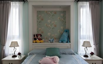 儿童房绿色背景墙美式风格装饰图片