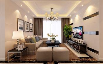 客厅白色吊顶现代简约风格装饰设计图片