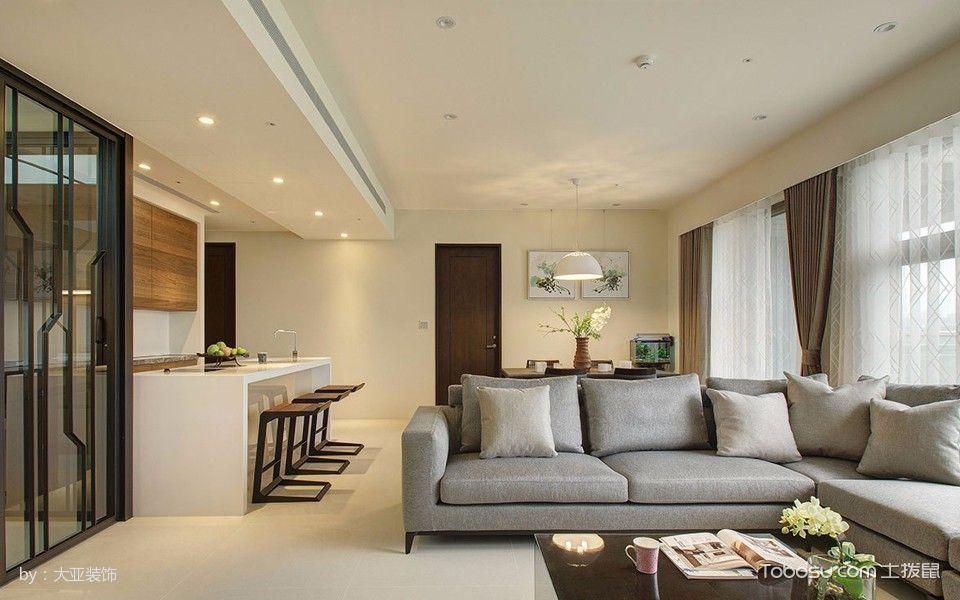客厅米色吧台简约风格装潢设计图片