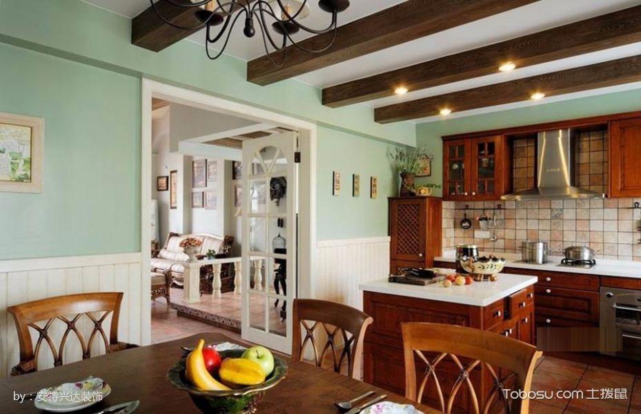 厨房咖啡色餐桌美式风格装潢图片