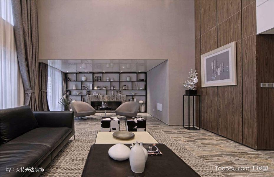 客厅黑色博古架现代风格装潢效果图