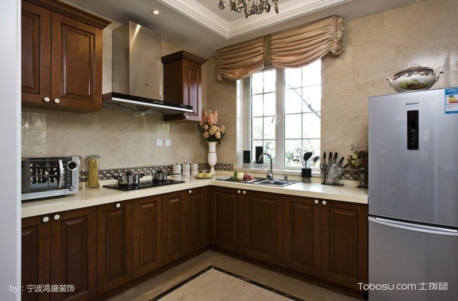 厨房咖啡色橱柜现代欧式风格装潢图片