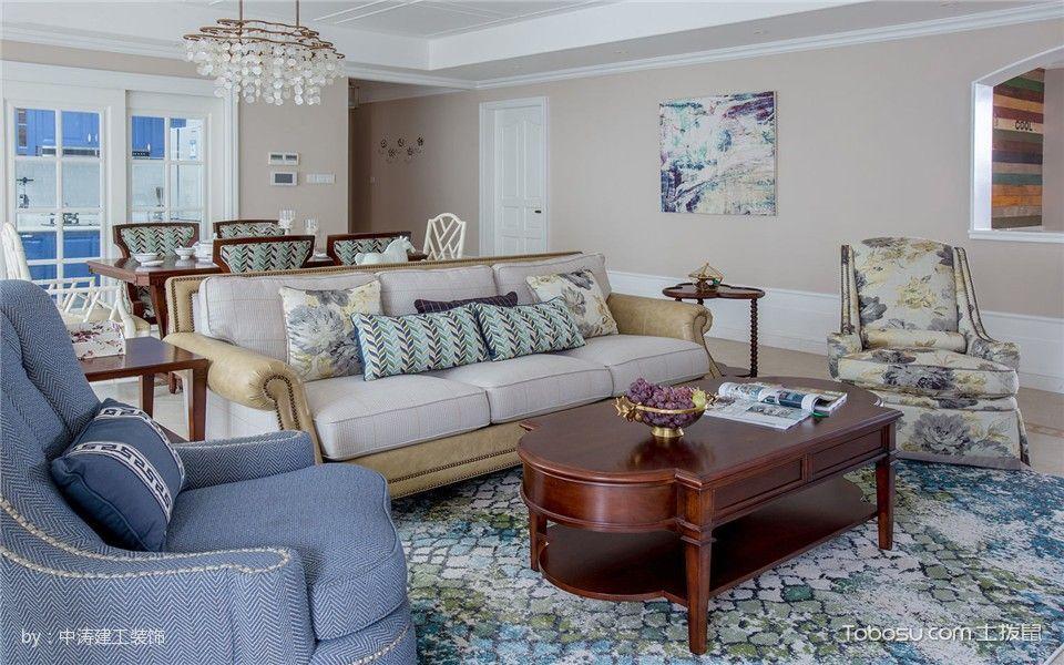 客厅咖啡色茶几法式风格效果图