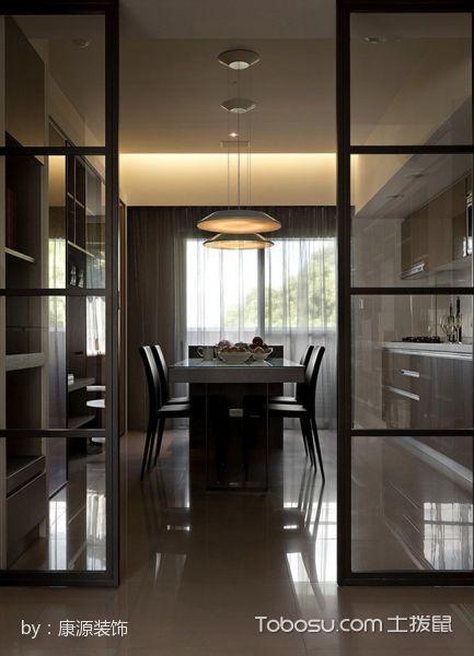 餐厅黑色推拉门现代简约风格装潢图片
