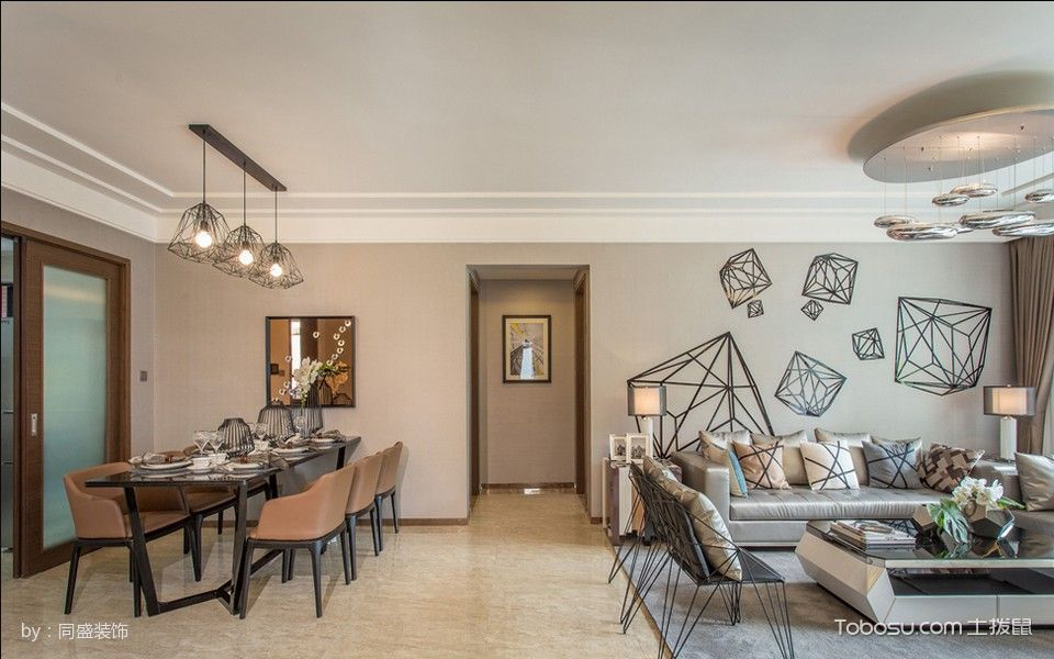 餐厅白色走廊混搭风格装潢效果图