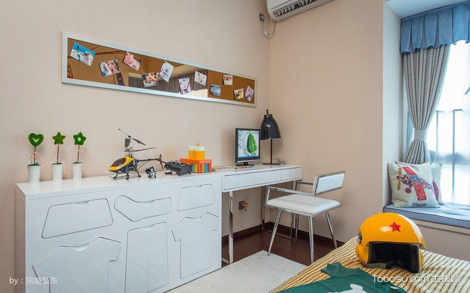 卧室白色书桌混搭风格装潢图片