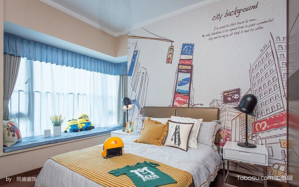 卧室蓝色飘窗混搭风格装修设计图片
