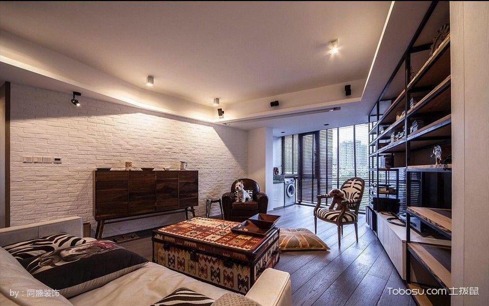 客厅咖啡色窗帘后现代风格装饰效果图