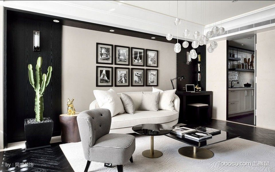 客厅黑色书桌现代简约风格装饰图片