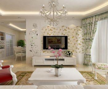 客厅窗帘田园风格装修图片