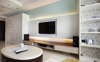 客厅白色现代简约风格装饰图片