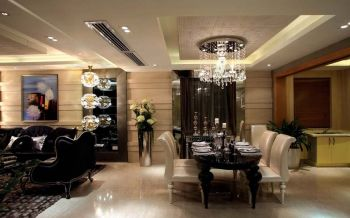 餐厅白色走廊现代欧式风格装潢效果图