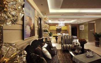 客厅黄色背景墙现代欧式风格装修图片