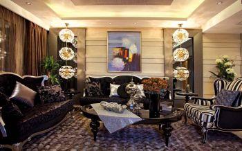 客厅黑色沙发现代欧式风格装潢图片