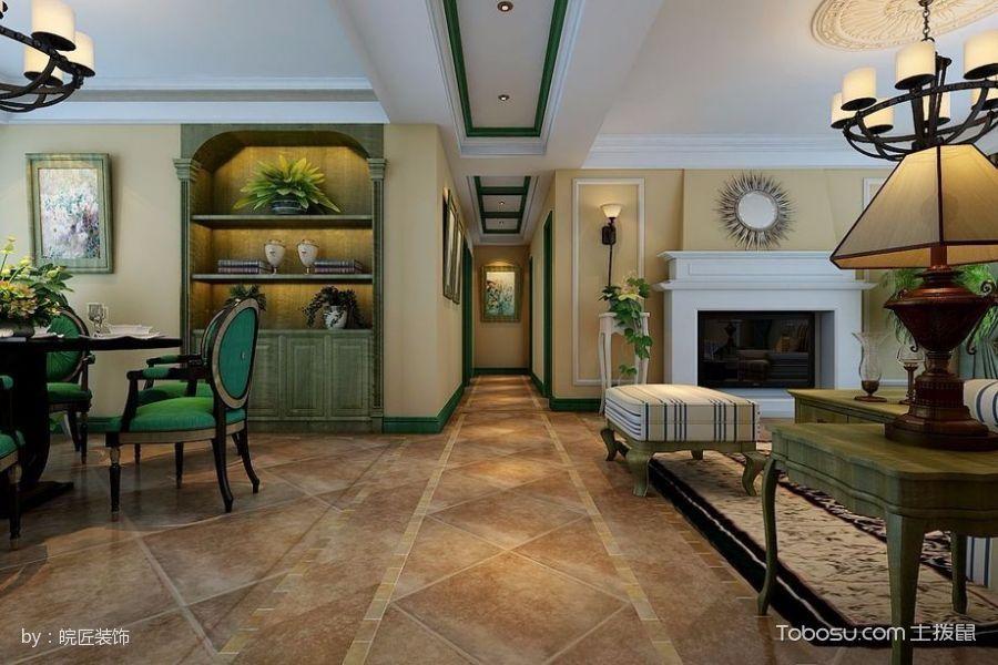 客厅黄色走廊美式风格装修效果图