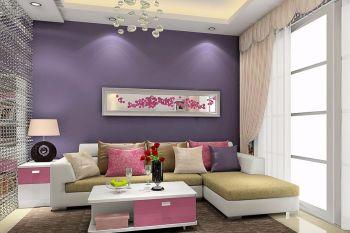 客厅紫色背景墙简约风格效果图