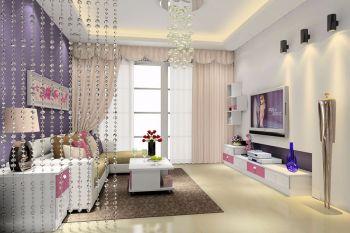 客厅白色隔断简约风格装潢效果图