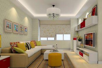 客厅绿色背景墙简约风格装修设计图片