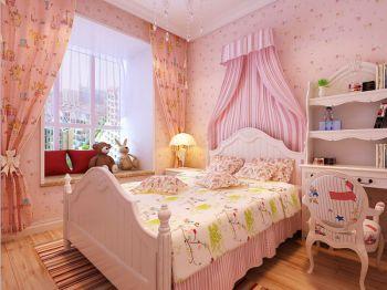 卧室粉色飘窗田园风格装饰效果图