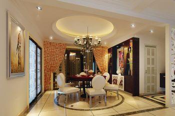 餐厅橙色窗帘欧式风格装饰图片