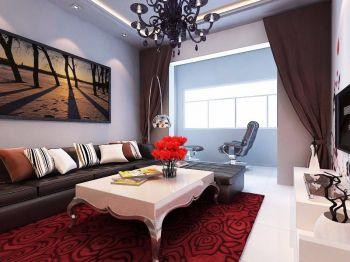 现代简约时尚风格84平米二居室装修效果图