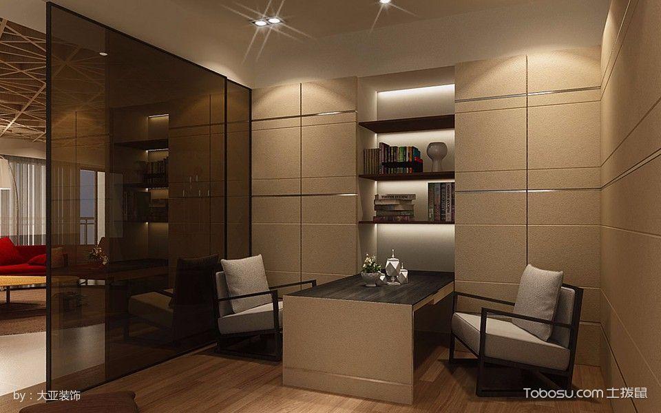 书房黄色背景墙现代风格装潢效果图