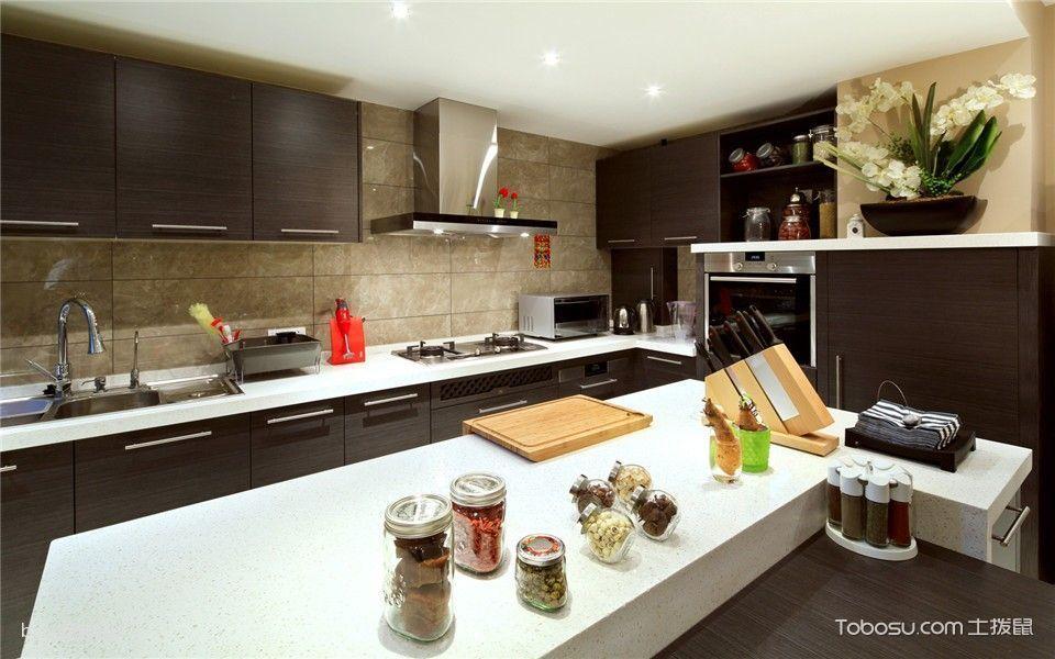 厨房白色厨房岛台简欧风格装饰设计图片
