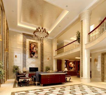 欧式客厅顶部大型灯池,并用华丽的枝形吊灯营造气氛。门窗上半部做成弧形,并用带有花纹的石膏线勾边,室内则有壁灯造型。墙面用优质乳胶漆,以衬托豪华效果。地面材料以石材和地板为主。客厅的大部分在挑空结构之下,大面积的玻璃窗带来了良好的采光,落地的窗帘很是气派。