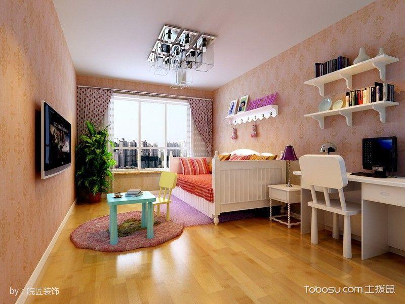 儿童房白色书桌现代简约风格装修效果图