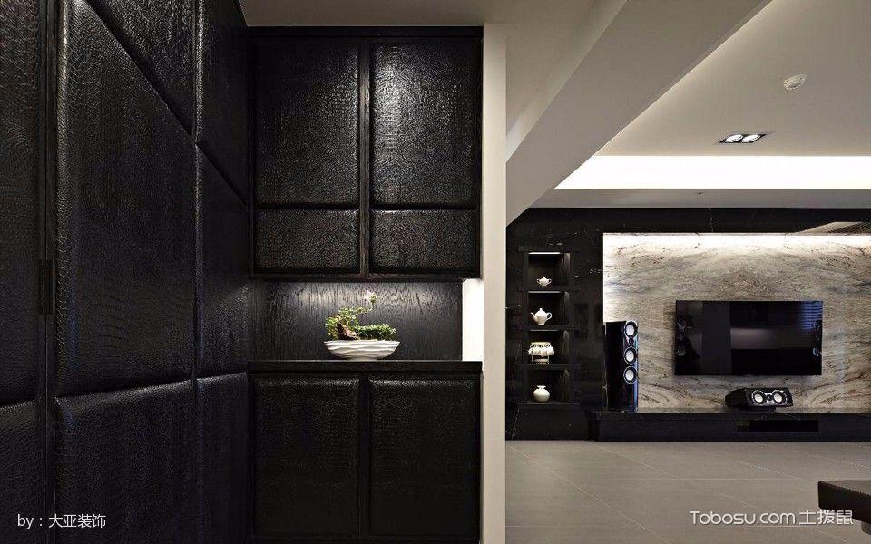 玄关黑色背景墙现代风格装饰设计图片
