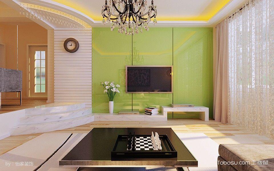 客厅 背景墙_7万预算100平米两室两厅装修效果图
