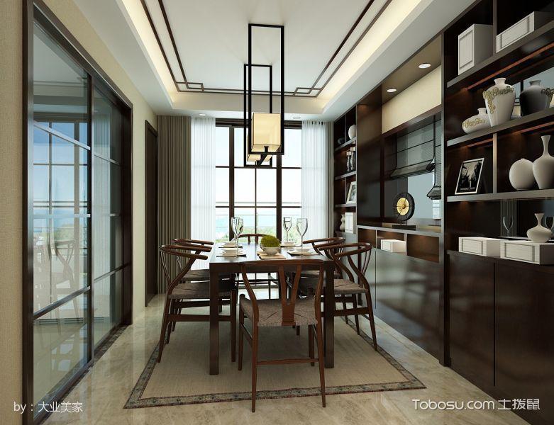 餐厅咖啡色博古架新中式风格装潢效果图
