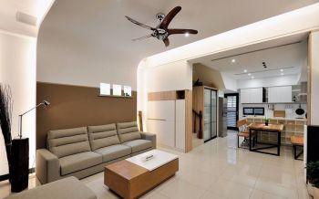 客厅咖啡色背景墙现代简约风格装饰图片