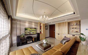 客厅咖啡色背景墙现代风格装潢效果图