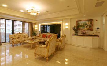 客厅黄色沙发欧式风格装潢设计图片