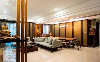 客厅黄色隔断现代中式风格装饰效果图