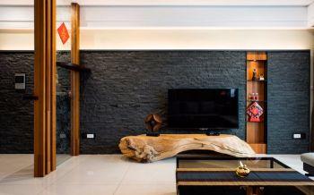 客厅黑色背景墙现代中式风格装潢效果图