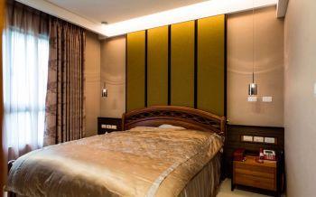 卧室绿色背景墙现代中式风格装修设计图片