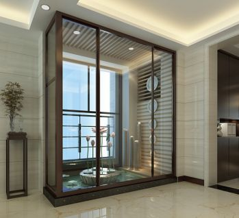 客厅推拉门新中式风格装修效果图