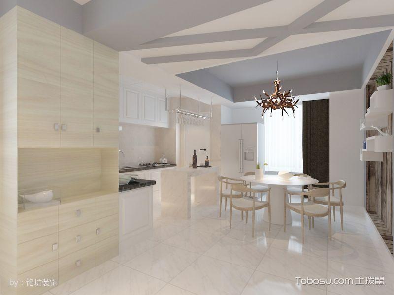 厨房白色吧台简约风格装饰设计图片