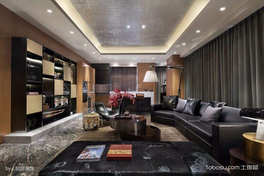 客厅黑色博古架现代风格装潢图片