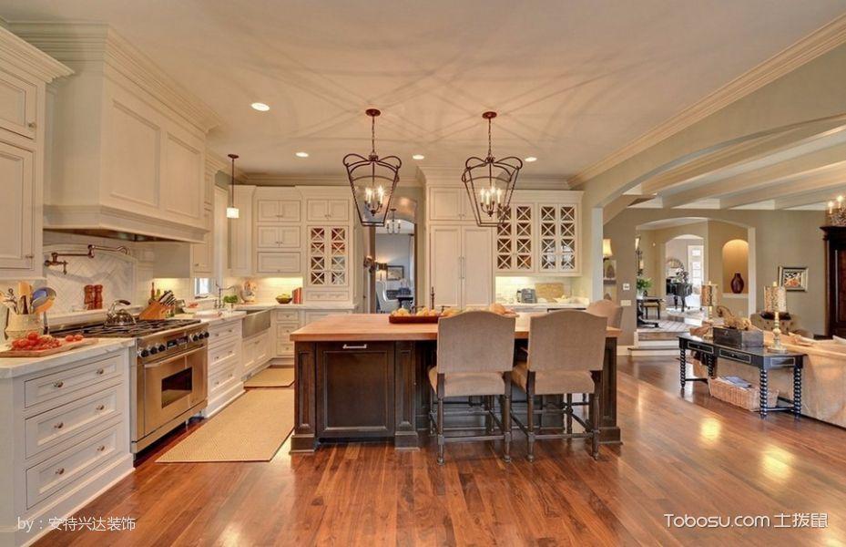 厨房黄色厨房岛台美式风格装修图片
