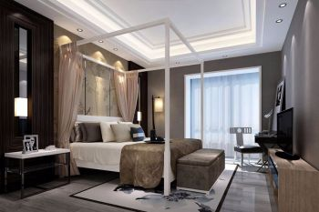 卧室吊顶现代中式风格效果图