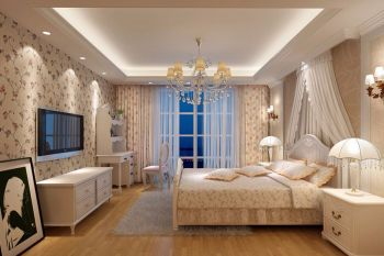 卧室吊顶欧式田园风格效果图