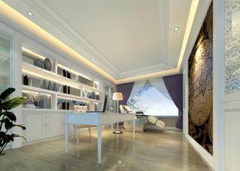 书房白色博古架简欧风格装饰设计图片