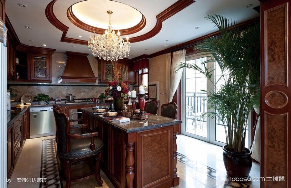 厨房黄色吊顶美式风格装潢图片