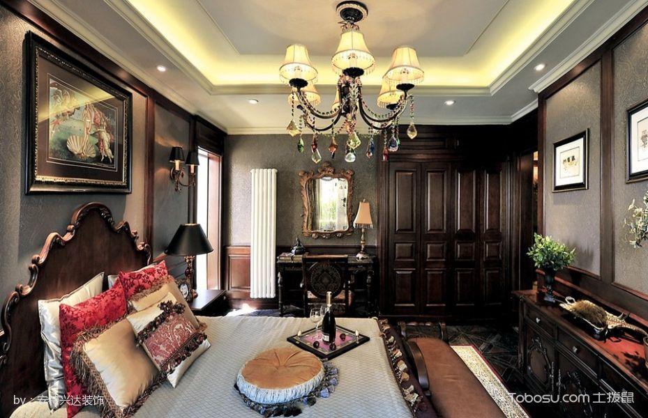 卧室咖啡色衣柜美式风格装潢设计图片