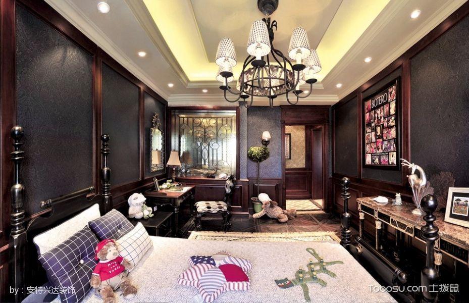 卧室黑色灯具美式风格效果图