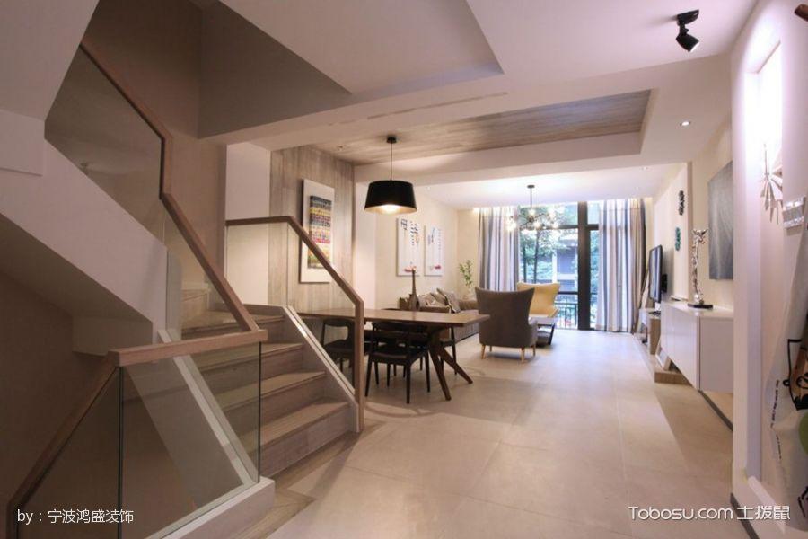 客厅 楼梯_自建别墅现代简约风格装修效果图